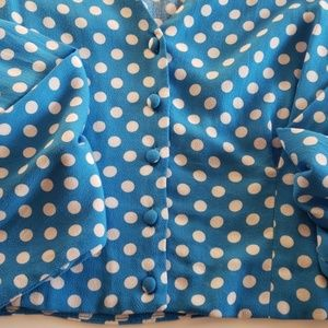 Zara Tops - Zara Vivid Blue Polka Dot Crop Top Size S
